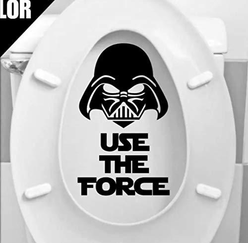 WOO LANDO stickers voor wc-deksel binnenkant - Use the Force - Darth Vader - watervaste vinyl stickers als decoratie en grappig cadeau 21x13cm in zwart