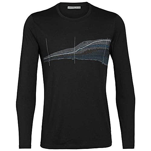 icebreaker M Tech Lite Long-Sleeve Crewe Impact Timeline Schwarz, Herren Merino T-Shirt, Größe L - Farbe Black