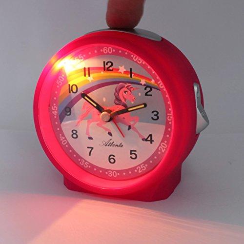 Atlanta Réveil pour Enfant Licorne Arc en Ciel Rose Pink Horloge Analogique-1981-17