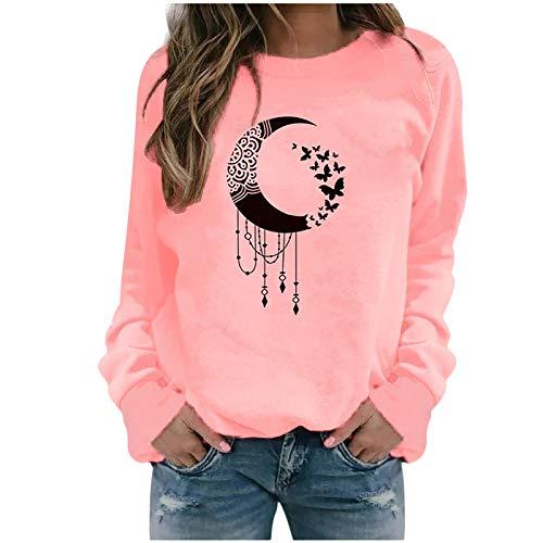 ReooLy Winter Tops Casuales para Mujer Sudadera con Estampado de Girasol para Mujer Blusa Camiseta Suéter(K-Rosa,L)