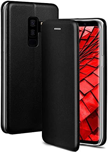 ONEFLOW Handyhülle kompatibel mit Samsung Galaxy S9 Plus - Hülle klappbar, Handytasche mit Kartenfach, Flip Hülle Call Funktion, Leder Optik Klapphülle mit Silikon Bumper, Schwarz
