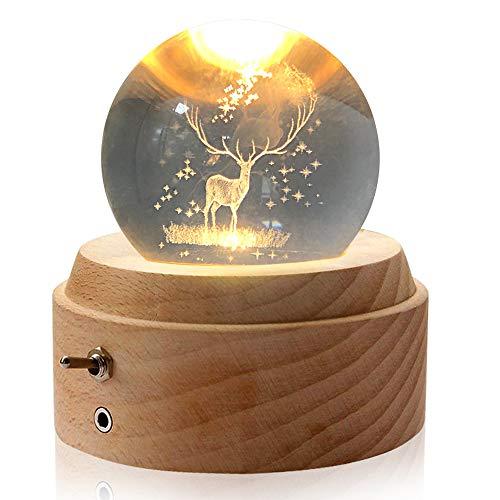Aoweika Spieluhr, 3D Kristallkugel Spieluhr Mit Warmem Licht Projektionsfunktion, Rotierende K9 Kristallkugel mit Hochwertiger Buchenholzsockel Geschenke für Frauen, Geburtstagsgeschenk