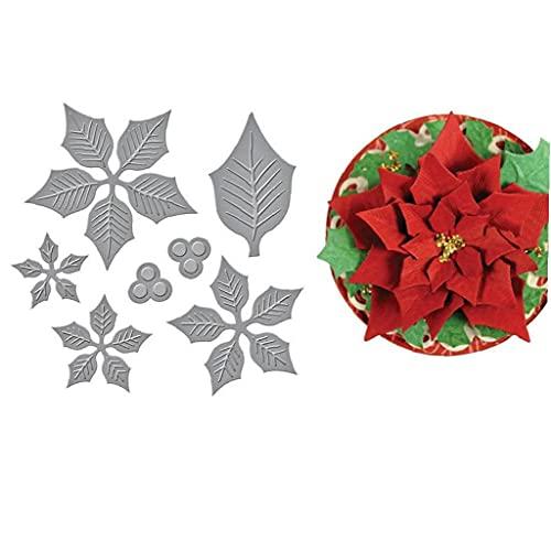 Bontannd Poinsettia Capas Grabado Dies De Navidad De Navidad Corta El Metal Troqueles De Corte Y Litografías Hacer a Mano del Papel De Arte Relieve De La Plantilla Poinsettia