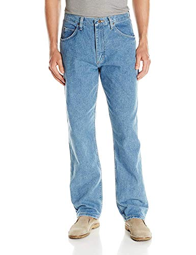 Wrangler Authentics Men's Classic 5-Pocket Relaxed Fit Cotton Jean, Stone Bleach, 42W x 32L