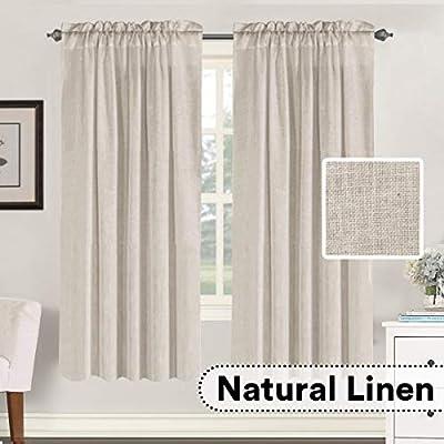 "H.VERSAILTEX Linen Curtains Elegant Natural Linen Blended Curtains Energy Efficient Light Filtering/Rod Pocket Window Treatments Panels/Drapes for Livingroom (Set of 2, Angora, 52"" x 72"")"