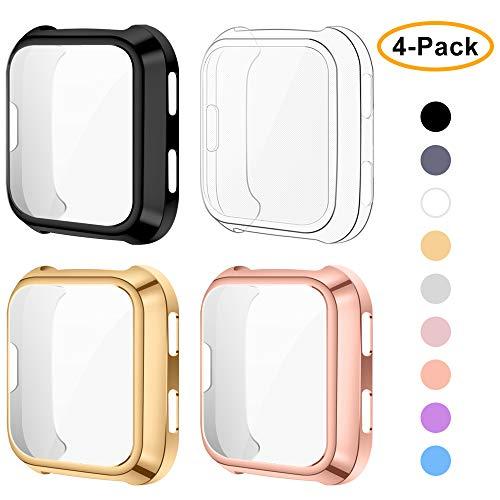 XIMU Schutzhülle Kompatibel mit Fitbit Versa Schutzfolie [4 Packs] TPU-Schutzhülle Kratzfeste Schutzhülle für Fitbit Versa (Nicht FÜR Versa 2)