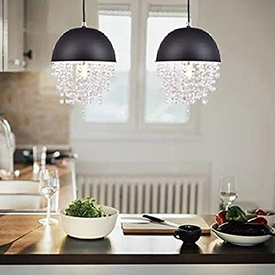 Cuaulans 2 Pack Industrial Vintage Pendant Light, Iron Black Bowl Shaded with Glittering Crystals Lighting Fixture with Adjustable Black Cord