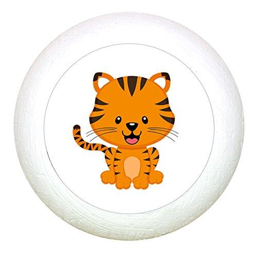 """Möbelknauf""""Tiger"""" weiss Holz Buche Kinder Kinderzimmer 1 Stück wilde Tiere Zootiere Dschungeltiere Traum Kind"""