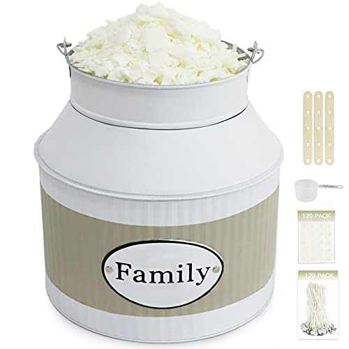 Kit di creazione di candele,3 clip di fissaggio stoppino,120 punti di colla fissi,3,8 kg fiocchi di cera di soia, 120 stoppini, 1 cucchiaio, grande secchio di cera di soia