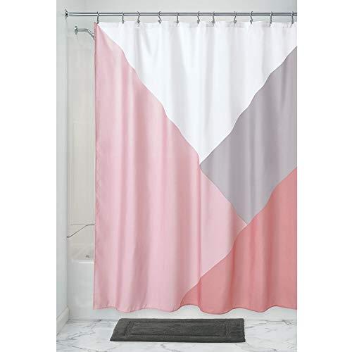 iDesign Colorblock Duschvorhang, großer Badewannenvorhang aus Polyester, rosa