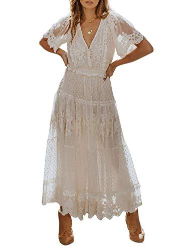 CORAFRITZ Vestido de cóctel elegante con cuello en V para mujer, longitud del suelo, una línea de cintura imperio vestido de cóctel de gasa largo de dama