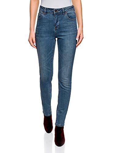 oodji Ultra Donna Jeans Slim Fit a Vita Alta, Blu, 25W / 30L (IT 38 / EU 34 / XXS)
