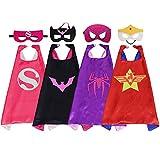 Kids Costumes 4PCS Superhero Capes Set for Girls Dress Up Party Favors (4-Pack)
