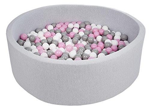 Velinda Piscine a Balles pour Enfant, diametre env.125 cm, Aire de Jeu + 600 Balles (Couleurs des Balles: Blanc,Rose Clair,Gris)