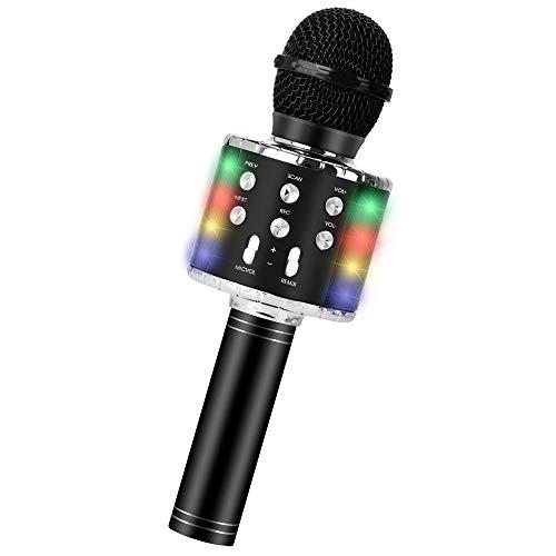 Drahtloses Bluetooth-Karaoke-Mikrofon, tragbarer 5-in-1-Handheld-Mikrofon-Lautsprecher-Player-Recorder mit steuerbaren LED-Leuchten, einstellbares Remix-FM-Radio (schwarz)