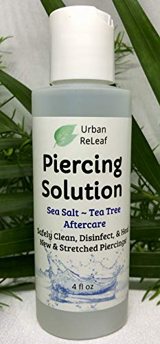 Urban ReLeaf Piercing Solution ! Healing Sea Salts & Tea Tree AFTERCARE 4 oz, Ready to use. Safely Clean, Disinfect & Heal New & Stretched Piercings. Gentle Effective Natural & Soothing. Works Fast