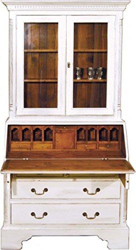 Casa Padrino Vintage Sekretär Schrank Antik Stil Weiss/Holzfarben H 210 x B 110 cm - Vitrine Regal Schrank Shabby Chic Hotel Möbel