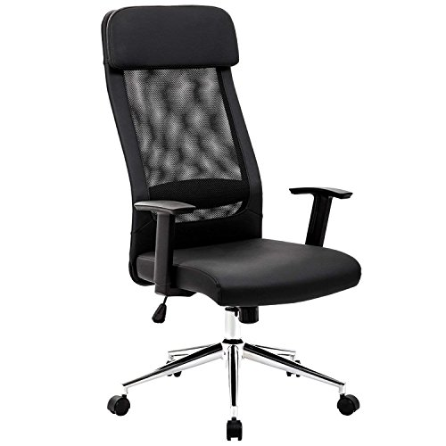 KADIRYA Extra High Back Mesh Office Chair Computer Desk Task Chair with Padded Leather Removeable Headrest and Seat Adjustable Armrest Ergonomic Design for Back Lumbar Support(Black)