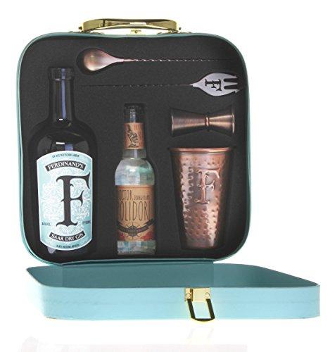 FERDINAND'S Traveller's Set (1x Dry Gin 50cl + 1x Kupferbecher G&T + 1x Barlöffel + 1x Jigger + 1x Tonicwater) Spirituose, (1 x 500 ml / 1 x 200 ml)