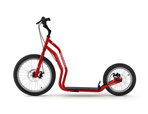 Yedoo Mezeq Tretroller - bis 150 kg, mit Luftreifen 20/16 - Roller Scooter für Erwachsene, Offroad Tretroller mit Ständer und verstellbaren Lenker, Dogscooter mit Scheibenbremse, rot