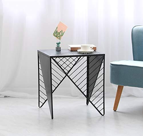 YWXCJ Tables Basses Nordic Or Fer forgé carré Petite Table Basse Simple Petit Appartement canapé Salon côté Chambre Table de Chevet décoration (Couleur : Noir, Taille : 45.5x45.5x50cm)