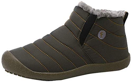 CCZZ Unisex warmer schnee stiefel stiefeletten pelzbesatz stiefel anti slip eindickung-walking-schuhe sohle für eltern cotton schuhe 1 13 uk armygrün - adult