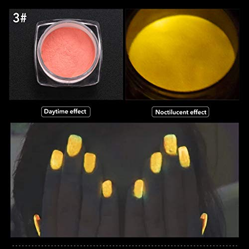 VANMO 6-farbiger Leuchtstoff,Neon Colors Bright Nail Polish Powder Glow Dust Luminous Pigment,1...
