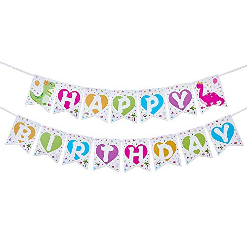 WERNNSAI Girls Dinosaur Birthday Party Decorations - Happy Birthday Banner Pink Bunting Garland Pennant Dinosaur Theme Party Supplies Pre-strung Hanging Wall Decors