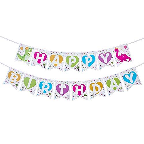 WERNNSAI Girls Dinosaur Birthday Party Decorations - Happy Birthday Banner Pink Bunting Garland Pennant Dinosaur Theme Party Supplies Pre-strung Hanging Wall Decors