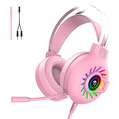 Gaming Headset, 3.5mm Stereo Wired Over-Head Gaming Headphone with RGB Rainbow Backlit, Professional Headphone Stereo Surround Sound and Noise Canceling Microphone, for PS4/ Xbox one/Mac/PC (Pink) by Hoopond