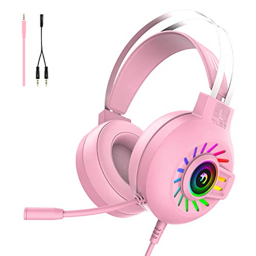 Gaming Headset, 3.5mm Stereo Wired Over-Head Gaming Headphone with RGB...