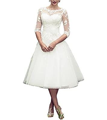 Abaowedding Long Sleeves Lace Short Tea Length Wedding Dress Gown Custom Ivory