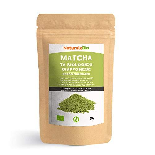 Thé Matcha Bio Japonais de Cuisine [ Qualité Culinaire ] 50 gr. Thé Vert Matcha en Poudre 100% Naturel. Matcha Green Tea Produit au Japon Uji, Kyoto. Pour la Patisseries, Cookies et dans le Lait