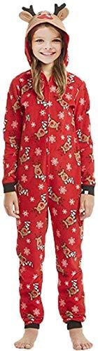 Pijamas Familiares Navideñas Pijama Navidad Familia Mono Navideños Mujer Niños Niña Hombre Pijama Reno Entero Una Pieza Trajes para Navidad Pijamas a Juego Manga Larga Chicas (niño,3 niño)