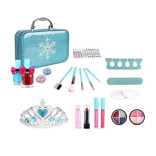 Juego de maquillaje para niños de 22pcs para niños - Juego de maquillaje para niños lavables Juguetes congelados,Kit de asador de niñas Maquillaje Real Maquillaje Cosmético Belleza Establecer juguetes