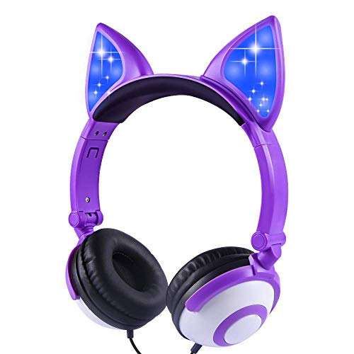 Isightguard Kids Headphones, Wired Headphones On Ear, Cat Ear Headphones with LED for Girls, 3.5mm Audio Jack for Cell Phone (Purple)