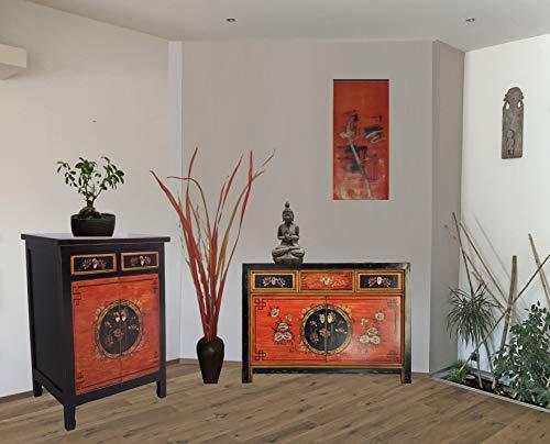 Combinación de muebles chinos con 2 cómodas en estilo shabby-chic en rojo-negro, aparadores asiáticos vintage