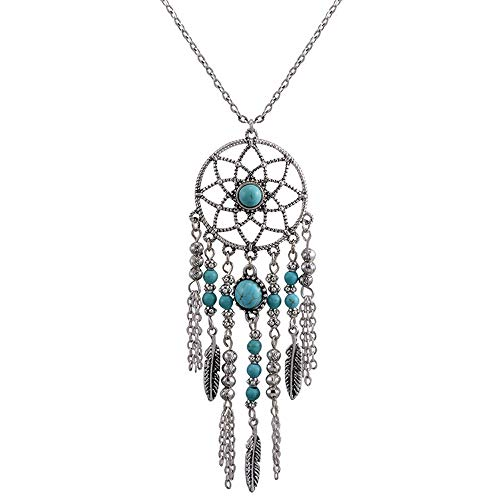 MJartoria Women's Dangling Feather Charms Filigree Tribal Dreamcatcher Pendant Chain Necklace (Silver)