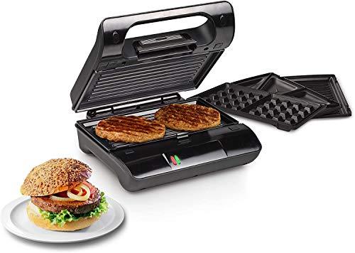 Sandwichera 3 en 1 Sandwichera Eléctrica 1200W Control de Temperatura Gofrera con 3 Plato Extraíble para Tostadas, Gofres y Carne, Acero inoxidable & Revestimiento Antiadherente, luz Indicadora, TIBEK