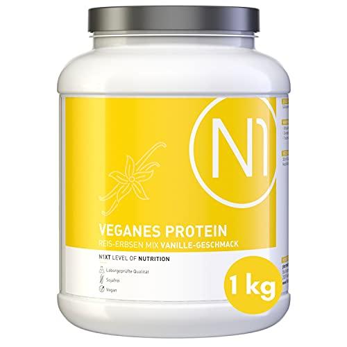 N1 Vegan Protein Eiweißpulver 1kg Dose [100% Pflanzlich] Protein Pulver Vanille - Eiweiß Muskelaufbau, Eiweißpulver zum Backen, Mehrkomponenten Protein, Whey Protein vegan, Eiweiss Shake, Proteine