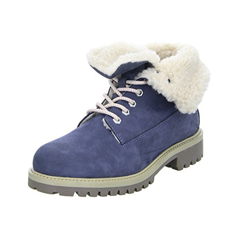 BOXX 75.262 Damen Stiefel Stiefelette Warmfutter Schnürstiefel Leder Echtleder Blau (Kenya 201) Größe 41 EU