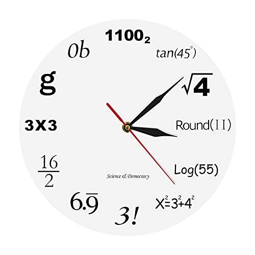 wffmx Wissenschaft Demokratie Mathematik Wanduhr Algebra Engineering Digitale Mathematische Gleichungen Moderne Uhr Mathematik Nerd Graduation Geschenk Wanduhr-30X30Cm