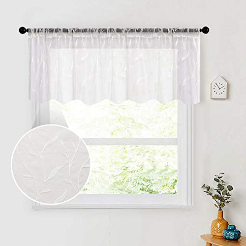 White Sheer Valance Curtains 54x16 inch Length Leaves Embroidery Bedroom Living Room Sheers Wheat Spike Embroidered Voile Valances Curtain Panels Rod Pocket Window Treatment 1 Panel