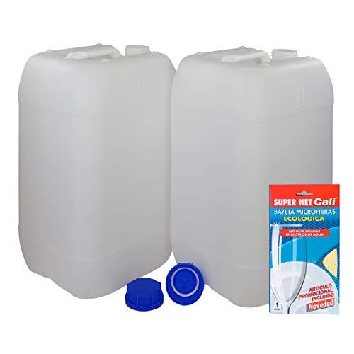 Bidón Garrafa Plástico 25 litros apilable. Apta para uso alimentario. Homologación para transporte. (2 Unidades) + Bayeta de Microfibras Super Net Cali.