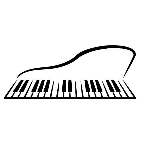 Empty 4 Stück Autoaufkleber18.3CM * 7.3CM Abstraktes Klavier Musikinstrument Vinyl Aufkleber Autoaufkleber Kreatives Muster Schwarz/Silber -schwarz