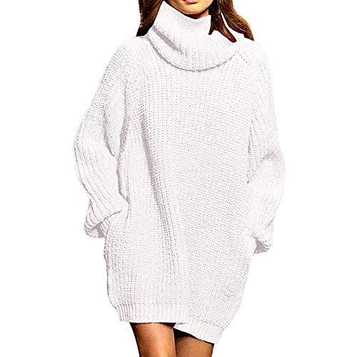 x8jdieu3 SuéTer Viejo Costura Moda Mujer Manga Larga Suelta Cuello Alto Bolsillo Vestido Medio Largo