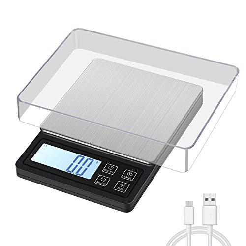 MOSUO Balance de Précision avec Câble USB,3000g/0.1g Balance de Cuisine Numérique Balance de Poche, Balance de Bijoux avec Fonction Tare et Compte, Écran LCD Rétroéclairé (Batterie Incluse)