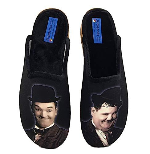 ALBEROLA Hausschuh/Pantoffel HELLE Sohle AC7120A DICK & DOOF Laurel & Hardy (Numeric_45)