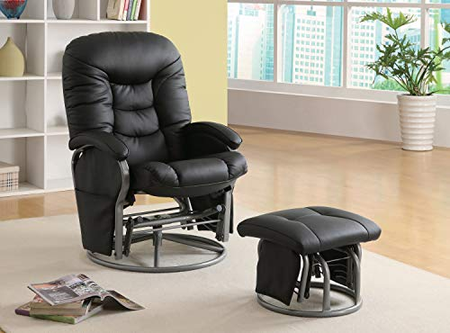 Coaster Casual Black Faux Leather Reclining Glider with Matching Ottoman
