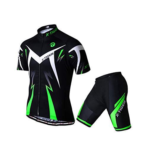 X-TIGER da Ciclismo Uomo 5D Gel Salopette Pantaloncini Corti Imbottiti Set di Abbigliamento Ciclista (Dt-01301, L)